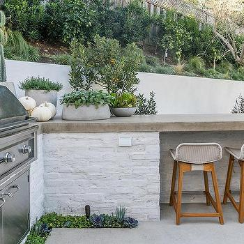 White Brick L Shaped Outdoor Kitchen Design Ideas