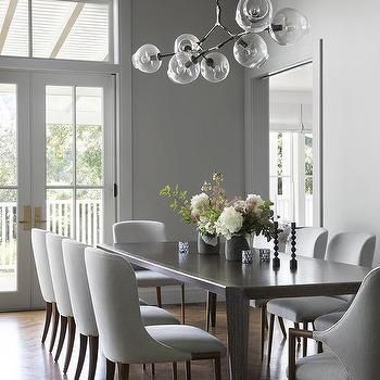 Sleek Gray Chairs At Sleek Brown Wood Dining Table
