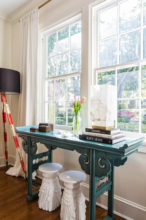 Indsutrial Console Table Transitional Living Room
