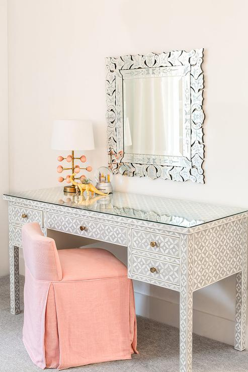 Bone Inlay Desk With Pink Stool