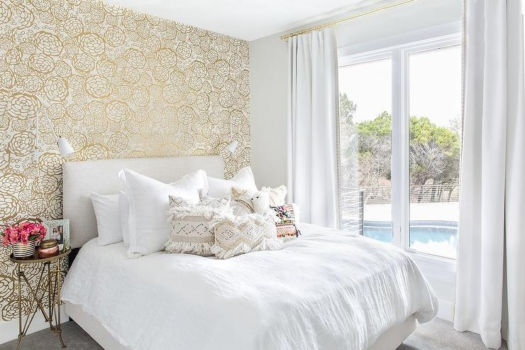 White And Gold Metallic Wallpaper In Girls Room Transitional