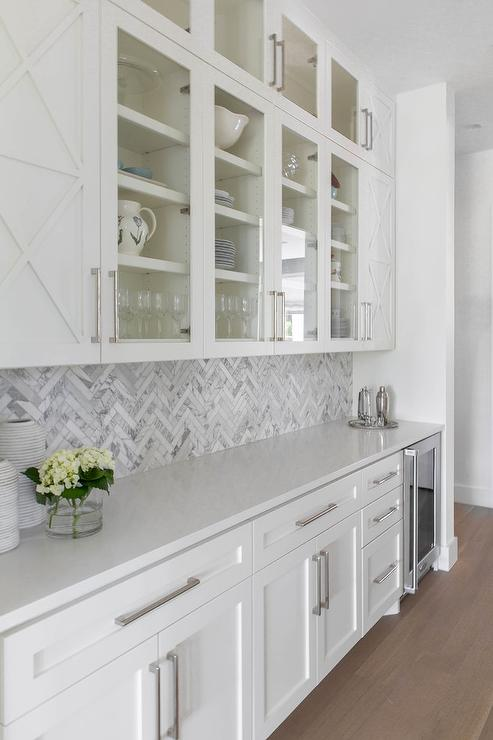Marble Herringbone Backsplash Tiles in Butlers Pantry - Transitional
