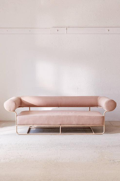 Surprising Ollie Pink Rounded Back Pink Metal Sofa Pabps2019 Chair Design Images Pabps2019Com