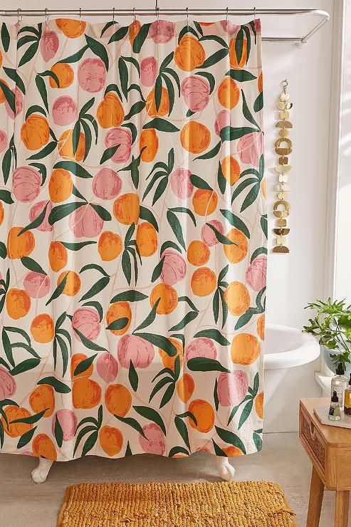 Orange Pink Peaches Shower Curtain