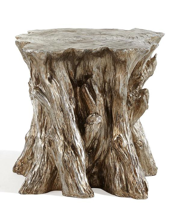Peachy Faux Bois Metallic Silver Tree Garden Stool Camellatalisay Diy Chair Ideas Camellatalisaycom