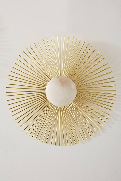 Allegra Gold Sunburst White Wall Art