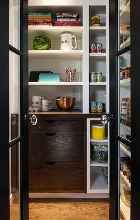 Black Metal And Glass Bi Fold Pantry Doors Transitional Kitchen
