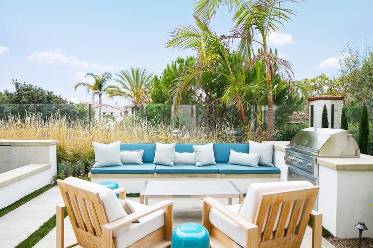 Caribbean Blue Backyard Bench Cushions Design Ideas