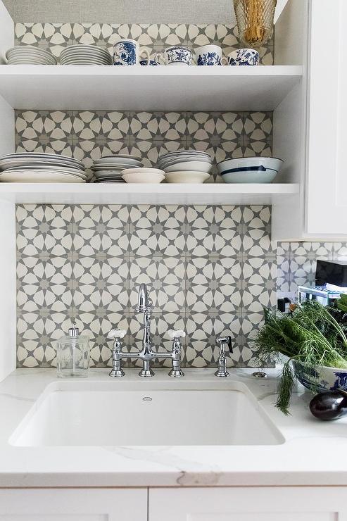 Gray Atlas Cement Backsplash Tiles Transitional Kitchen