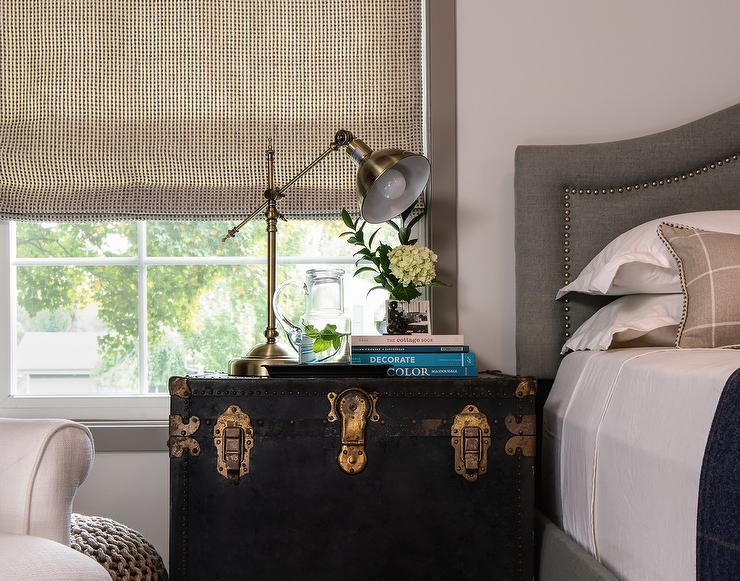 buy popular 08749 1e47b Vintage Black Trunk as Nightstand - Transitional - Bedroom