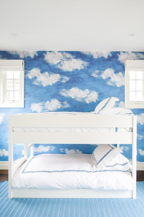 White And Blue Kids Room With Cloud Wall Paintings