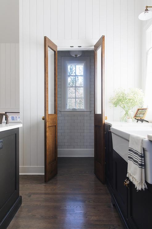 Brass Door Knobs On Vintage Bi Fold Doors Cottage Kitchen
