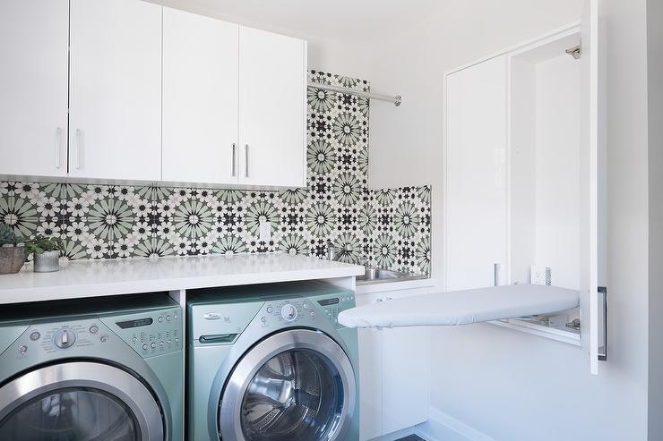 laundry drop down ironing board | Laundry Room TV - Contemporary - laundry room - Rambling ...
