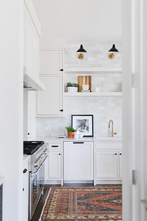 White Floating Shelving Over Kitchen Sink Transitional Kitchen