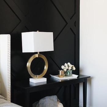 Black Paneled Bedroom Accent Wall Design Ideas