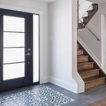 White And Black Quatrefoil Foyer Accent Tiles Design Ideas