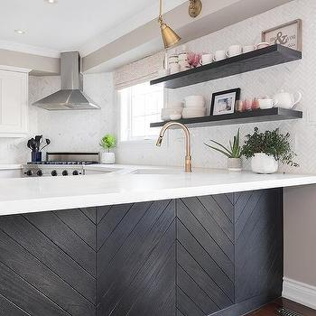 White Kitchen With Gray Quartz Countertops And Glossy