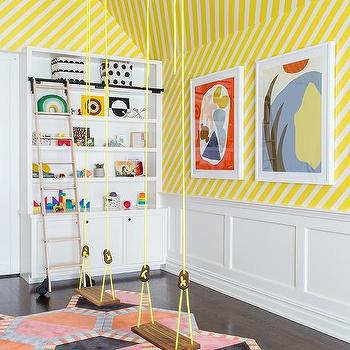 Yellow Playroom Swings With Wooden Seats Design Ideas