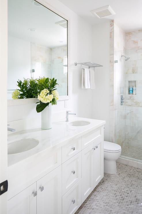 White and Tan Hex Bath Floor Tiles - Transitional - Bathroom