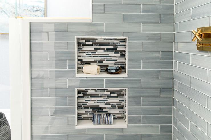 Gray Subway Tile Backsplash Contemporary Bathroom