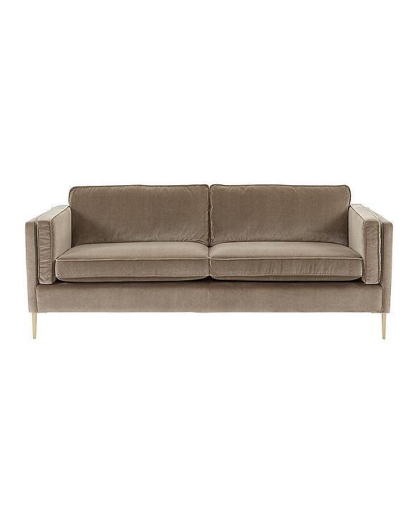 Betsy Mid Century Modern Brown Velvet Sofa