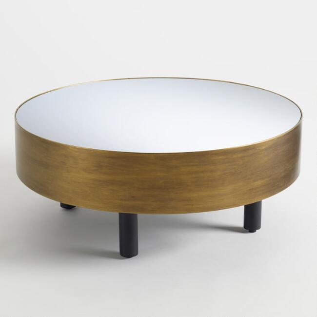 Mirrored Base Black And Clear Coffee Table