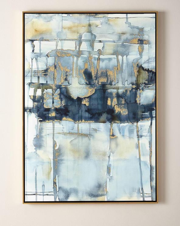 b626882e7e778 Blue Thoughts Gold Leaf Watercolor Wall Art
