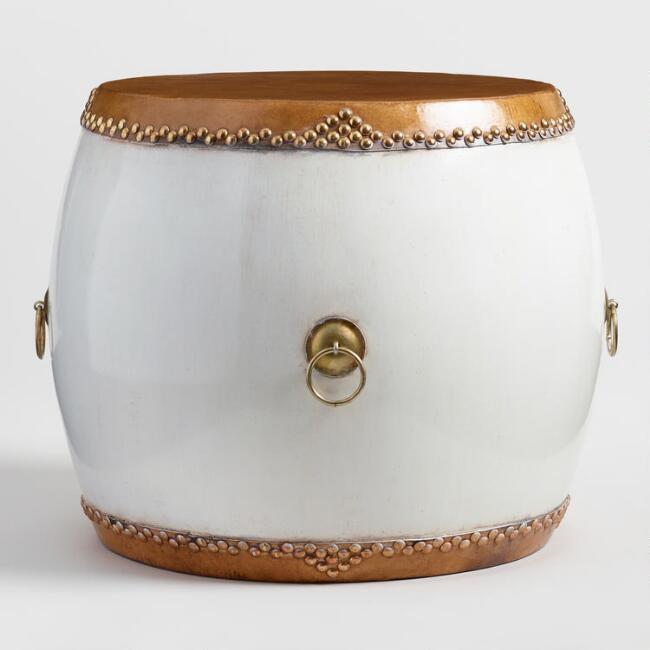 White Convex Drum Table