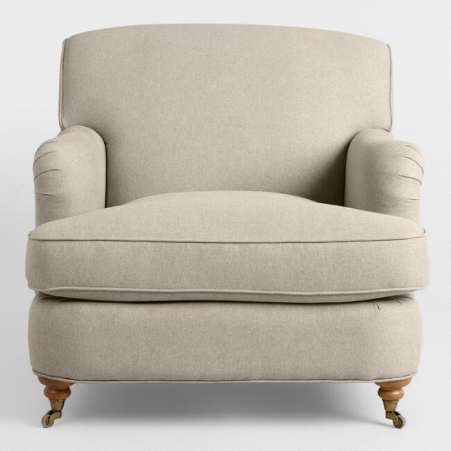 Shelton Oatmeal English Roll Arm Chair, English Roll Arm Chair Cover