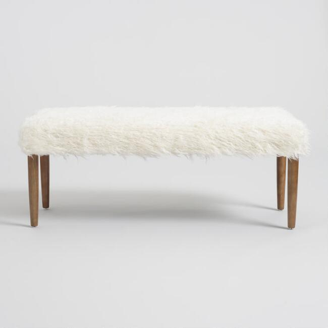 Marvelous Chloe Ivory Faux Flokati Dining Bench Pabps2019 Chair Design Images Pabps2019Com