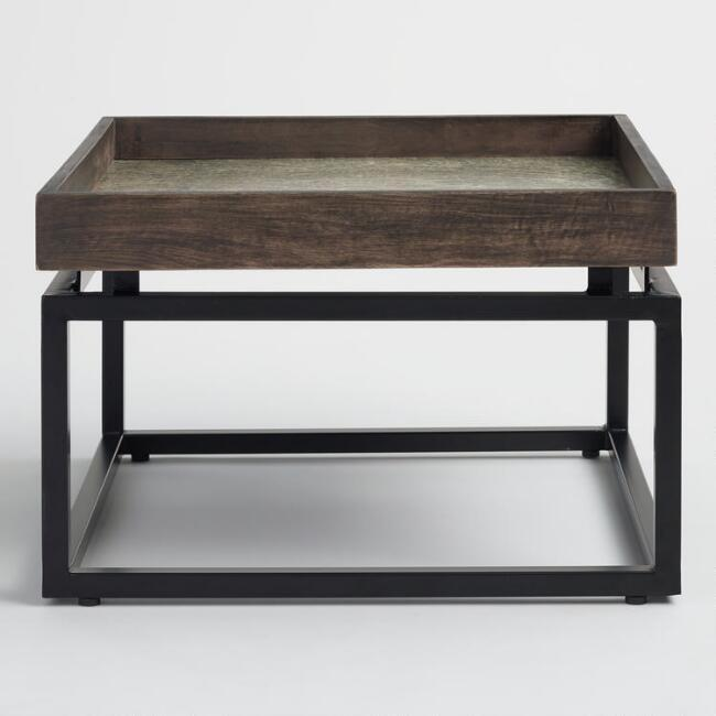 Jayla Square Wood Tray Metal Coffee Table