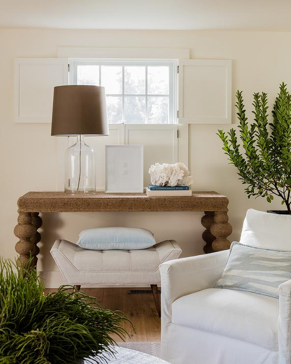 Cream Tufted Shelter Arm Sofa With Powder Blue Pillows