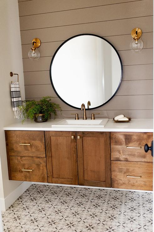 White And Gold Master Bathroom With Gray Cement Tiles