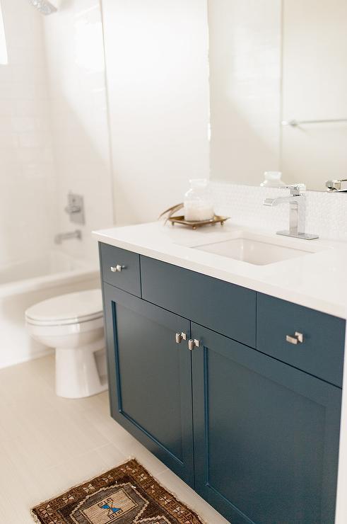 Dark Blue Flat Front Bath Vanity With Brown Vintage Rug