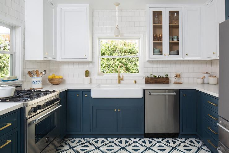 Dark Blue Lower Kitchen Cabinets - Transitional - Kitchen ...