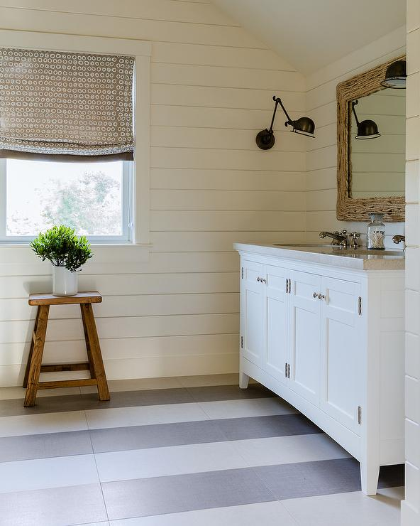 White And Gray Stripe Painted Bathroom Floors Cottage