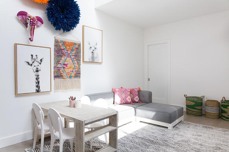 Pb Teen Cushy Lounge Sectional Set With Gray Rug