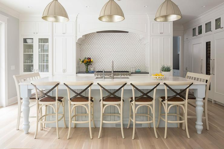Gray Dome Lights Over Large Light Blue Kitchen Island ...