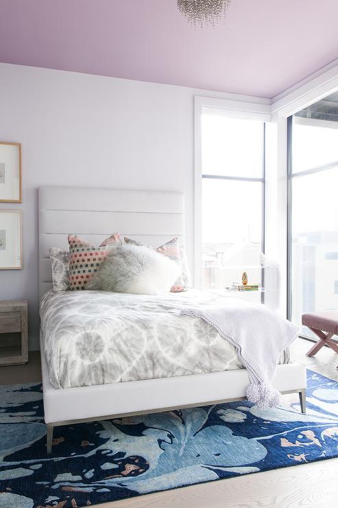 Mauve Ceiling Over White Channel Tufted Bed - Contemporary ...