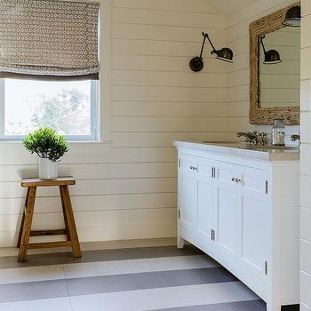 White And Gray Stripe Painted Floors Design Ideas