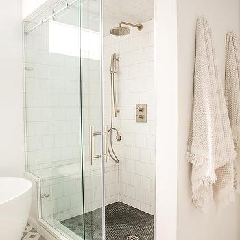 Bathroom With Black Sliding Door On Rails And Taupe Hex