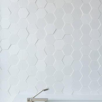White Hex Bathroom Wall Tiles Design Ideas