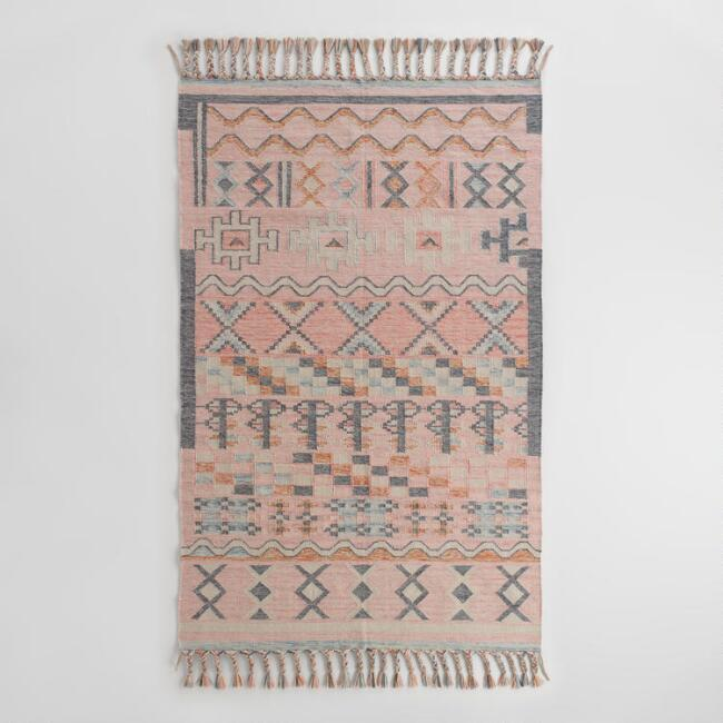 Geometrical Kilim Blue Cream Rug Runner