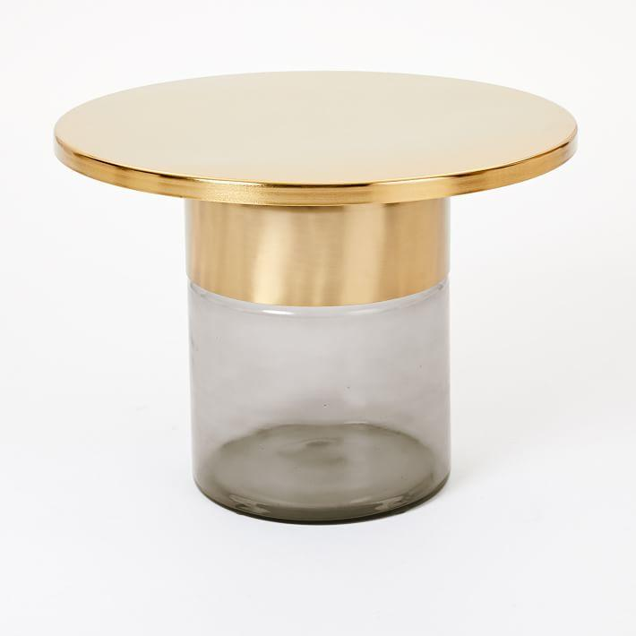 Cool Marlo Round Brass Top Smoked Glass Side Table Gmtry Best Dining Table And Chair Ideas Images Gmtryco