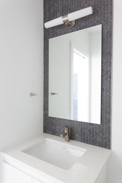 Thin Mirror Powder Room Backsplash Tiles Design Ideas