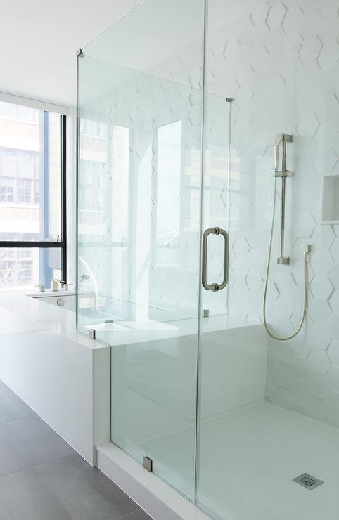 Drop In Tub With Seamless Glass Shower Door Design Ideas