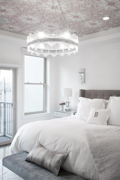 Pink and Gray Wallpaper on Ceiling Over Gray Wingback Bed ...