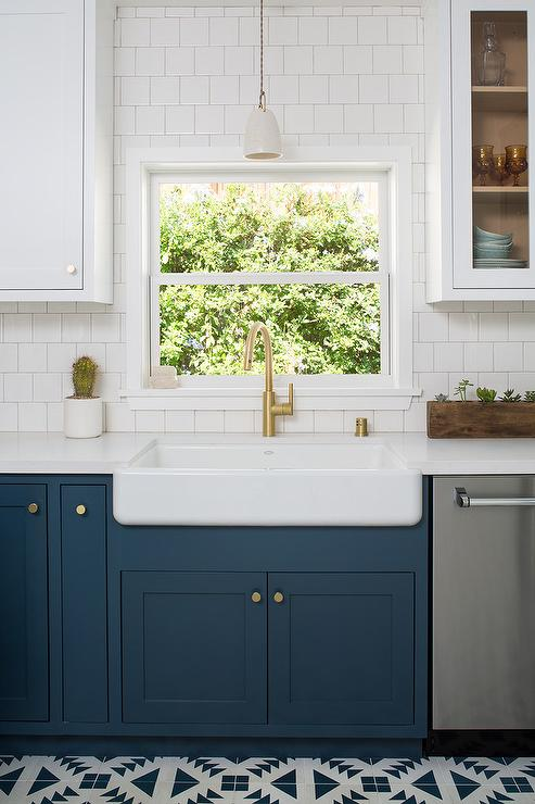 Dark Blue Cabinets With Farmhouse Sink Transitional