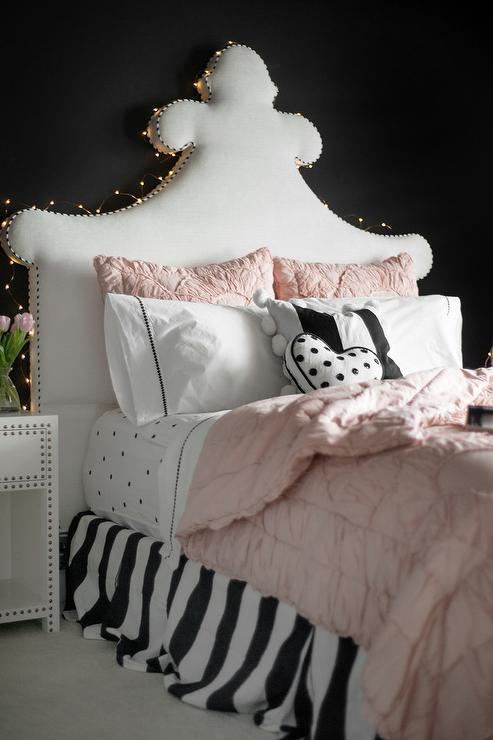 White French headboard with Fairy String Lights on Black ...