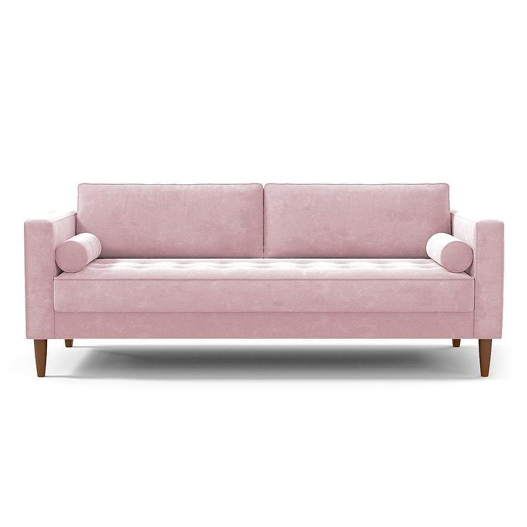 Zossen Mid Century Modern Accent Chair In Ivory Crushed: Koenig Sofa In Bella Pewter Velvet I Roomservicestore